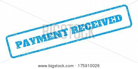 Blue rubber seal stamp with Payment Received text. Glyph caption inside rounded rectangular shape. Grunge design and unclean texture for watermark labels. Inclined blue sticker on a white background.