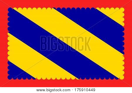 Flag of Nievre is a department in the region of Burgundy in the centre of France named after the River Nievre. Vector illustration