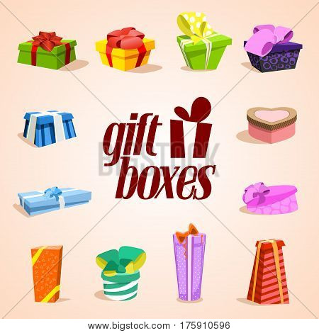 Set of colorful gift boxes. Gift box vector. Gift box isolated. Gift box collection. Cute illustration of gift box. Present, greeting, surprise. Greeting box. Wrap gift box.