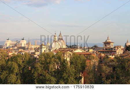 Panorama of Rome from Saint Angel castle