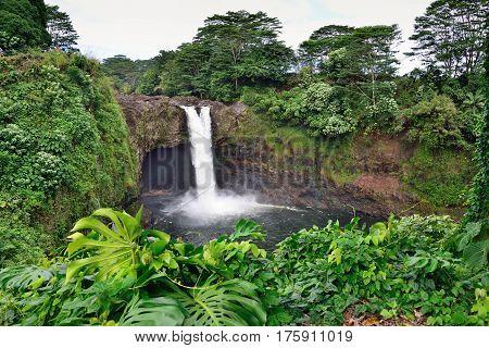 Rainbow Falls near Hilo Hawaii Wailuku River State Park