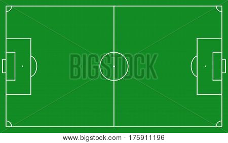 Green Football field scheme. Standard soccer markup, Vector illustration