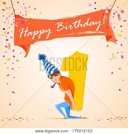 confused boy holding the number 1 on a colorful background. banner Happy Birthday. vector illustration.