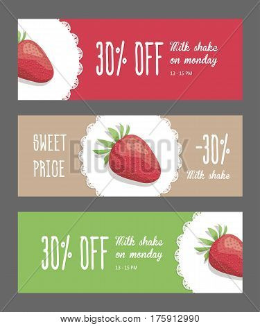 Set of corporate style elements with fruits. Template horizontal bright narrow banners for restaurant, cafe or pastry shop, strawberry berries on white napkin