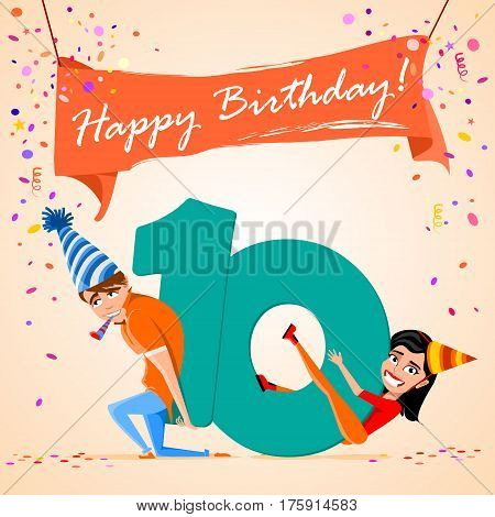 confused boy holding the number 10 on a colorful background. banner Happy Birthday. vector illustration.