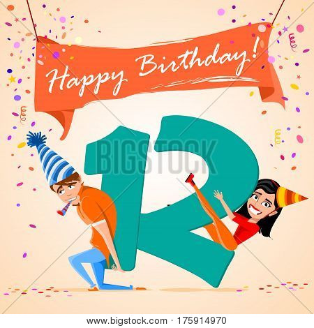confused boy holding the number 12 on a colorful background. banner Happy Birthday. vector illustration.