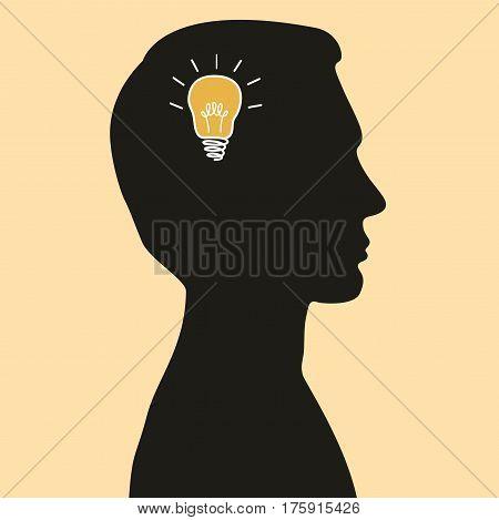 Cartoon illustration of idea bulb in human head