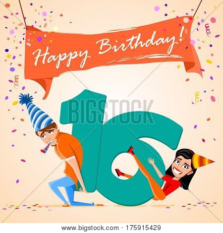 confused boy holding the number 16 on a colorful background. banner Happy Birthday. vector illustration.