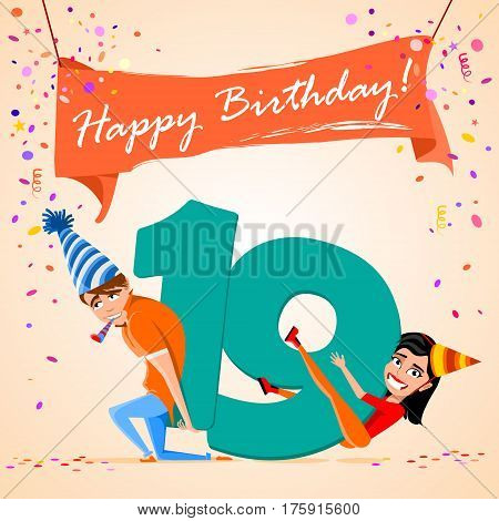 confused boy holding the number 19 on a colorful background. banner Happy Birthday. vector illustration.