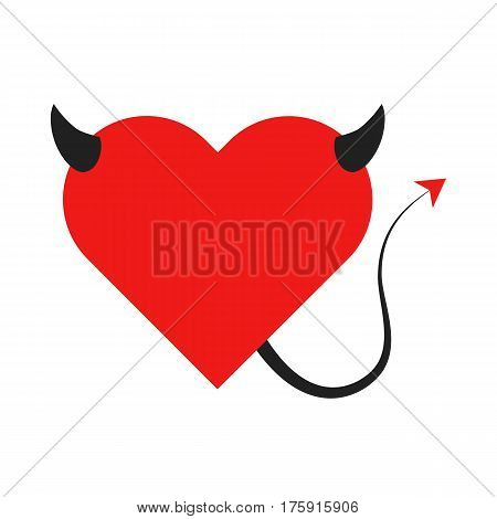 Flat icon devil heart with horns and a tail. Vector illustration.