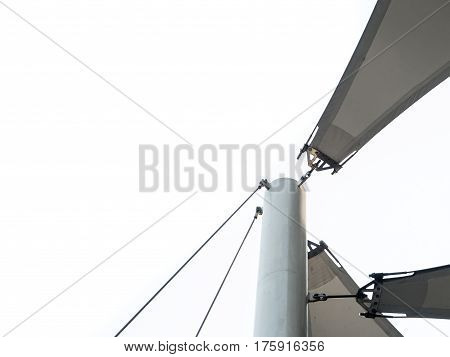 close up Detail of fabric tensile roof structure
