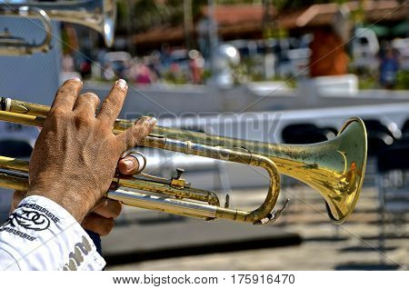 Closeup of the fingers of a male trumpet player