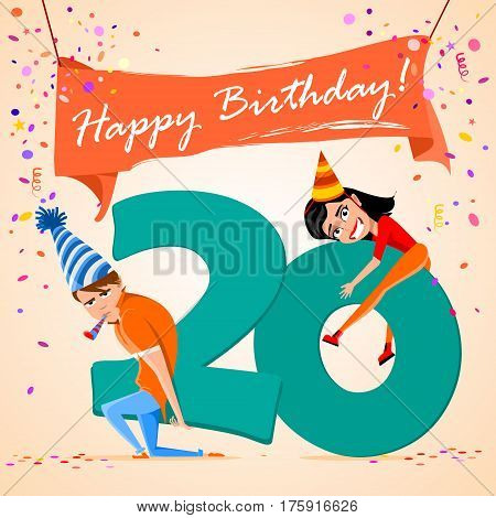 confused boy holding the number 20 on a colorful background. banner Happy Birthday. vector illustration.