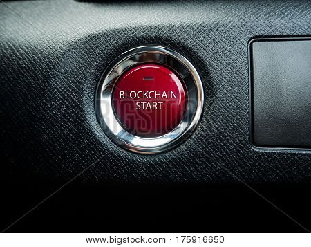 Big red block chain button on the black background