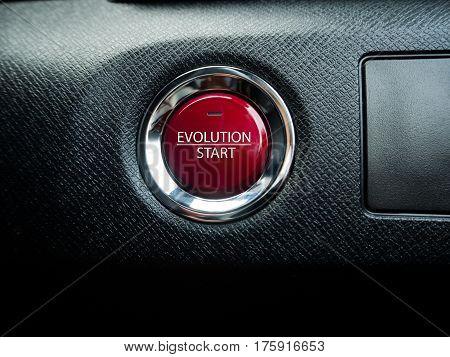 Big evolution button on the black background