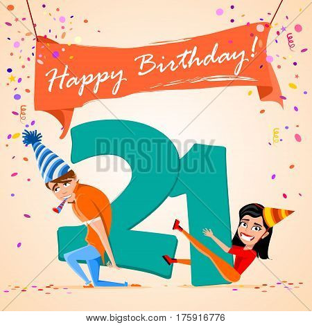 confused boy holding the number 21 on a colorful background. banner Happy Birthday. vector illustration.