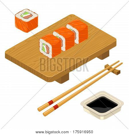 Sushi roll Philadelphia with fish cream cheese avocado chopsticks soy sauce in bowl and wood serving board. Isolated on white background. Vector flat color illustration. For icon and menu