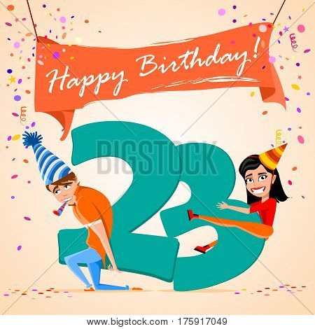 confused boy holding the number 23 on a colorful background. banner Happy Birthday. vector illustration.