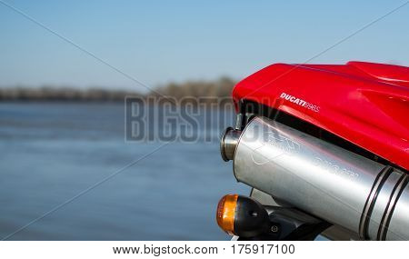 Senta Serbia: March 4th 2017. Ducati 996s motorcycle exhaust, photographed outdoor besides river Tisa