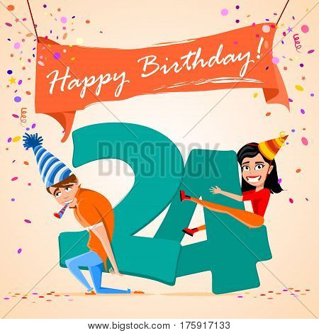 confused boy holding the number 24 on a colorful background. banner Happy Birthday. vector illustration.