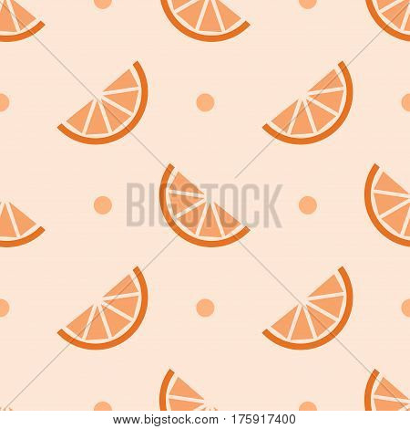Orange slices on polka dot background. Seamless pattern.