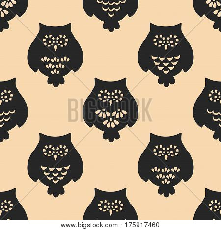 Owl seamless patten. Vector background. Abstract animal