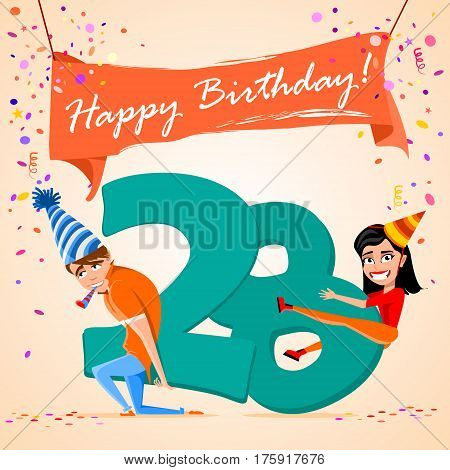 confused boy holding the number 28 on a colorful background. banner Happy Birthday. vector illustration.