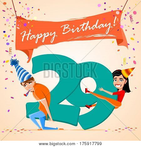 confused boy holding the number 29 on a colorful background. banner Happy Birthday. vector illustration.