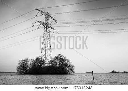 Transmission Power Tower, Black And White