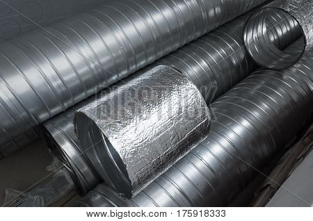 Group Of Shiny Metallic Tubes