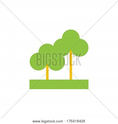 Vector icon or illustration showing paark, trees our otdoors in material design style