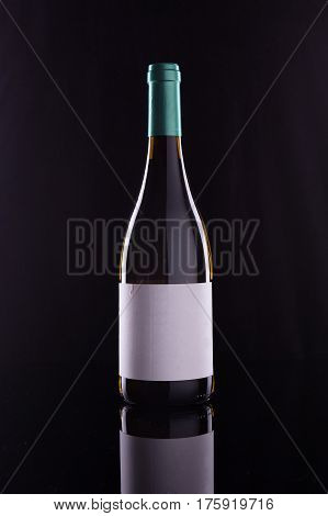 Wine bottle with white lable on black