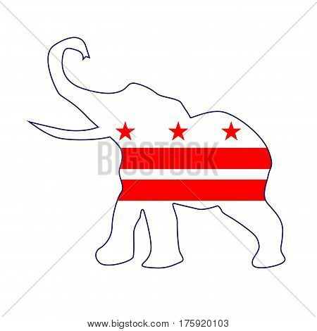The Washington DC Republican elephant flag over a white background