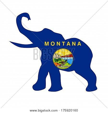 The Montana Republican elephant flag over a white background