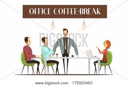Office coffee break design with cheerful woman and men hot drinks interior elements vector illustration