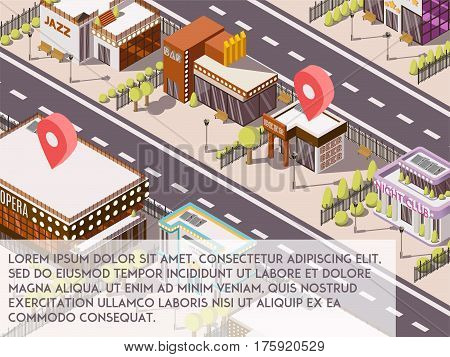Entertainment places in city isometric set with theatre and cinema vector illustration