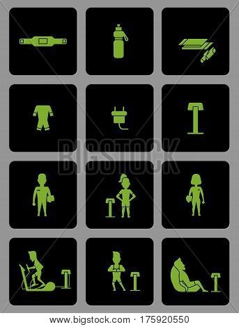 Ems training web icons set in flat style. Electric muscular stimulating fitness vector illustration