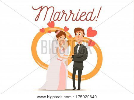 Marriage divorce set flat background with newly married couple bride and groom characters with wedding rings vector illustration