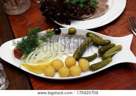 Salted Herring On Plate