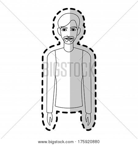 young handsome man wearing long sleeve shirt  icon image vector illustration design