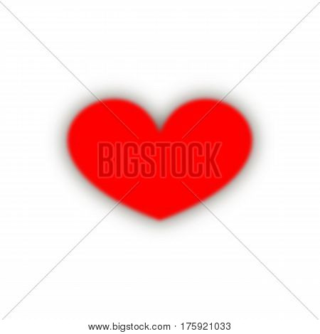 red fuzzy heart with a shadow. Happy Valentine's Day. abstract love symbol. white background. vector illustration.