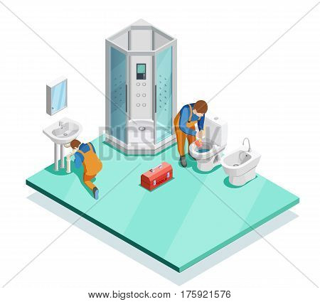 Plumbers fixing problems in modern luxury bathroom with shower cabin enclosure sink and bidet isometric vector illustration