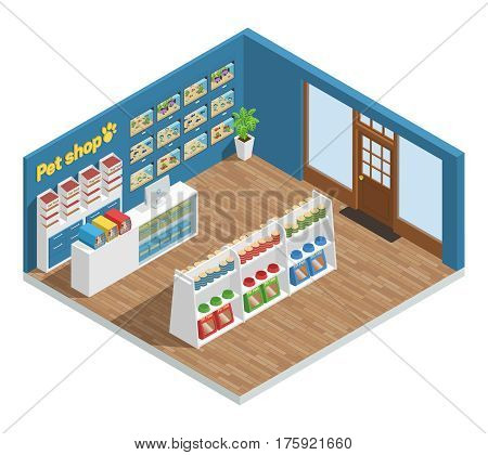 Pet shop interior composition with food accessories and toys isometric vector illustration