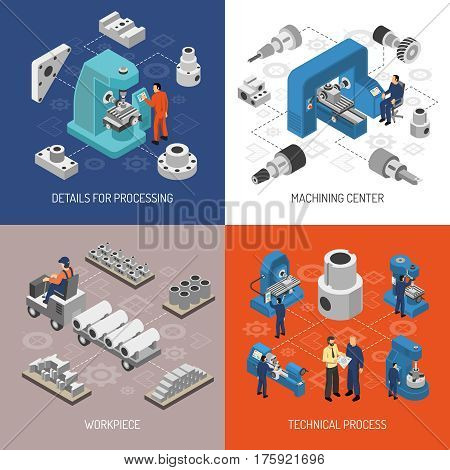 Heavy industry isometric design concept with details and work pieces technical process machining center isolated vector illustration
