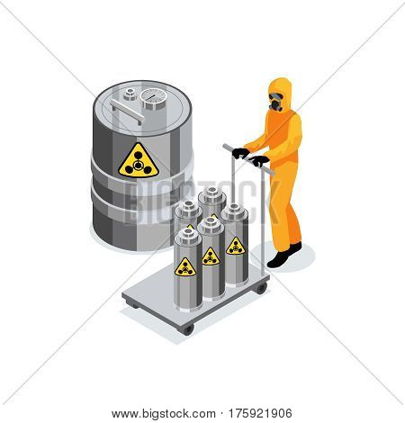 Chemicals composition with worker in chemical protection suit carrying trolley with nuclear radioactive fuel in vessels vector illustration