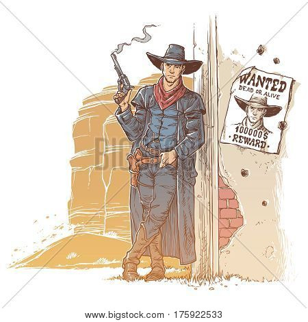 illustration of a robber with a smoking gun standing next to the announcement of his wanted list