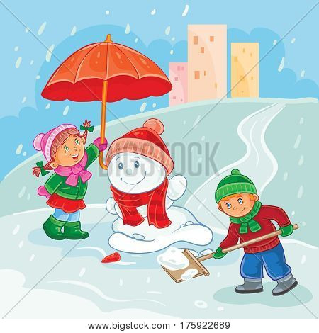 winter illustration of small children mold snowmen, save the snowman during thaw