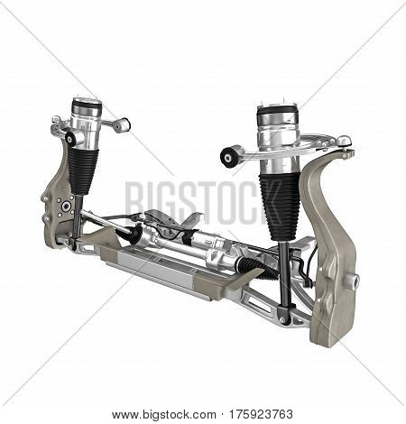 Electric Car Front Axle isolated on white background. 3D illustration