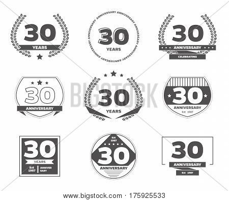 Thirty years anniversary logotypes and badges. 30th anniversary logo collection.
