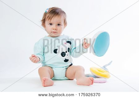 portrait of smiling baby isolated on white background.